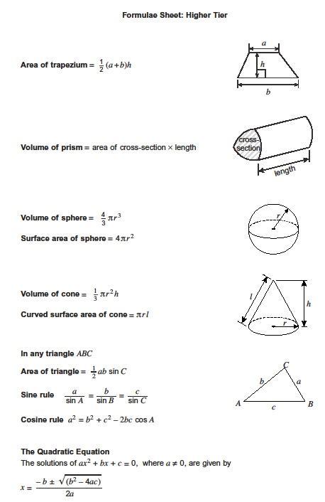 exam formula sheets revision maths
