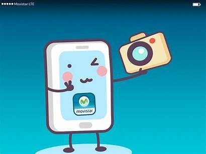 Celular Movistar Selfie Kawai Gifs Oma Animated