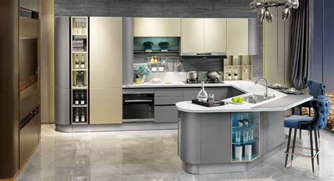 Modern Golden And Grey Lacquer Kitchen Cabinet Op15-036 Auto Spray Paint Supplies White Furniture Flat Clear Bone Polyurethane Mirror Like On Glass Fabric Lamp Shade