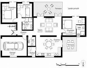 plan maison de plain pied avec garage ooreka With plan de maison plain pied 4 chambres avec garage 3d