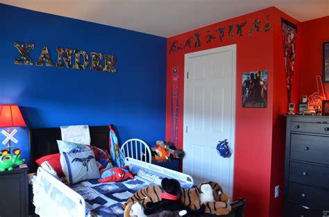 red blue superhero theme boys bedroom  red  blue