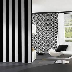 neue tapeten bilder ideen With markise balkon mit tapete schwarz silber gestreift