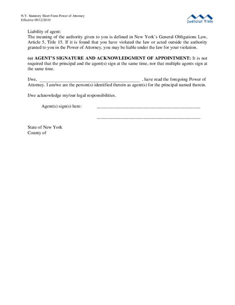 sample power  attorney statutory short form  york