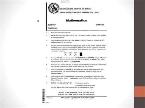 ecz grade  maths   paper