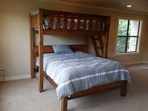 Rustic barnwood texas bunk bed twin over queen rustic for Loft bed queen