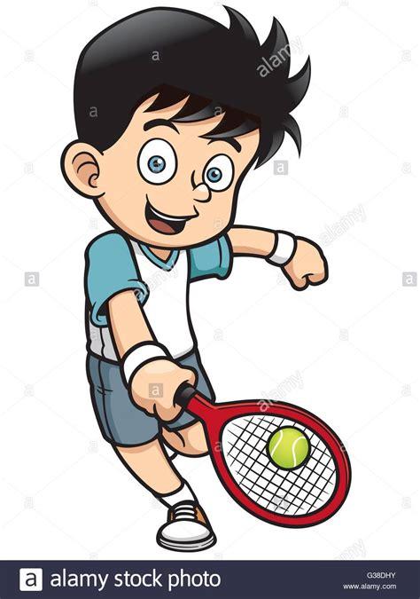 vector illustration  cartoon tennis player stock vector art illustration vector image