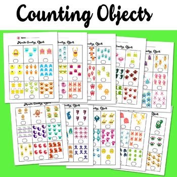 monster counting objects   worksheets math counting