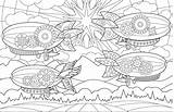 Coloring Colouring Airships Joanna Webster Adult Amazing Creative sketch template