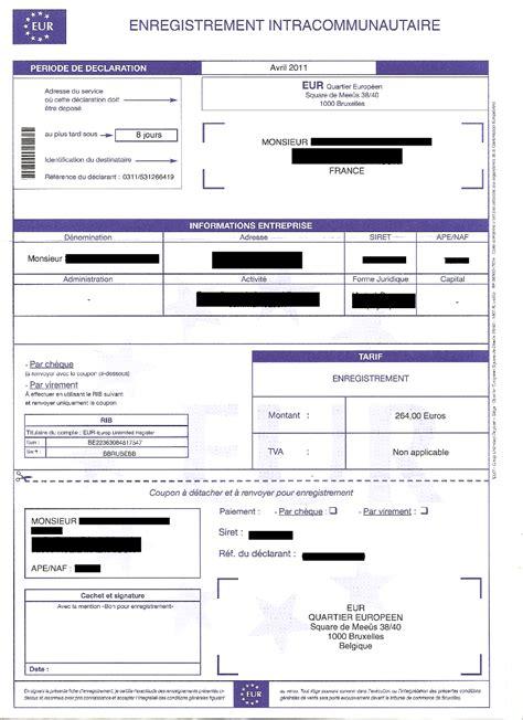 Modification Kbis Auto Entrepreneur by Arnaque Par Courrier 171 Registre Tva Intracommunautaire