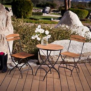 Coral Coast French Cafe 24 In Teak Bistro Set Outdoor