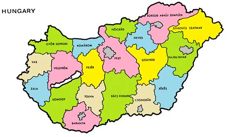 counties  hungary map