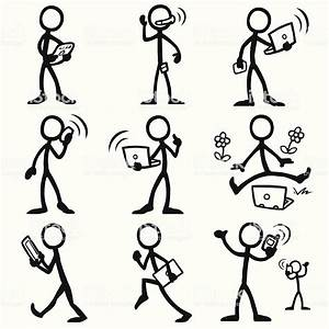 Stick Figure People Mobile Computing Stock Illustration