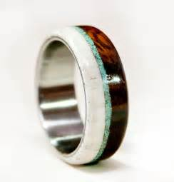 ethical wedding rings mens wedding band wood and antler with titanium by stagheaddesigns