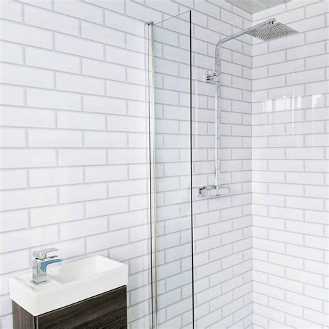 white gloss london tile shower panel easypanelscouk