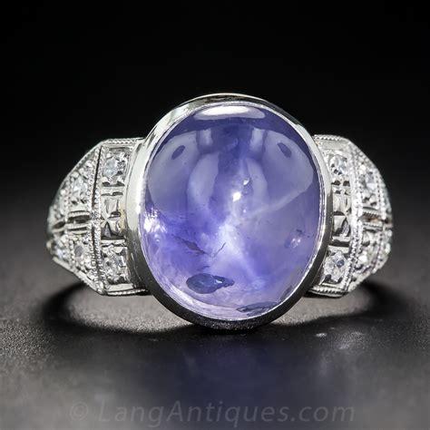 carat  heat burma cabochon sapphire art deco ring