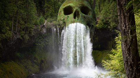 mystic skull waterfall forest   wallpapers wallpapers hd