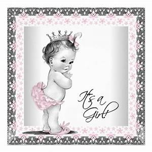 Pink And Gray Vintage Baby Girl Shower Invitation - LadyPrints