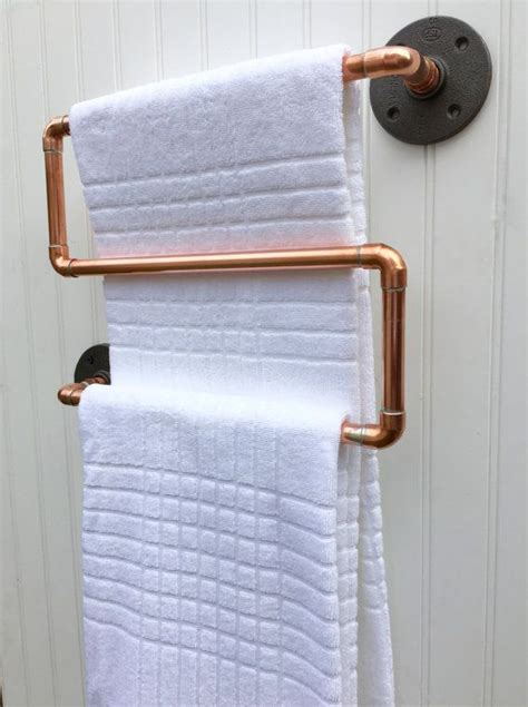 Modern Copper Bathroom Accessories by Copper Pipe Towel Rack Industrial Towel Bar Modern