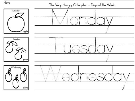 """""""the Very Hungry Caterpillar"""" Days Of The Week Worksheets For Preschool, K And Early Grades"""