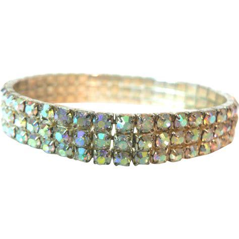 aurora borealis rhinestone  row expandable bracelet