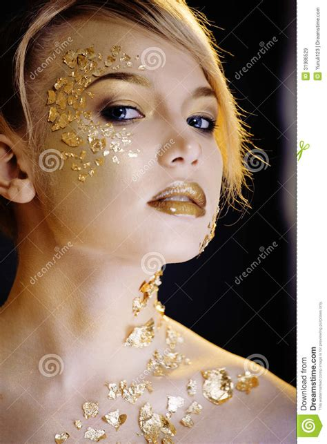 make up gold blond with gold creative make up royalty free