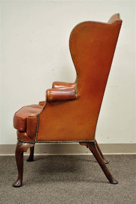 antique 19th century burnt orange distressed leather