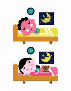 Kids sleep in the bed. Kid bedtime concept. flat character ...