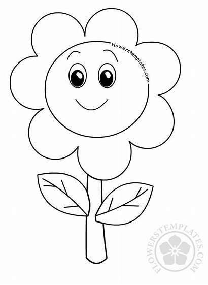 Face Smiley Flower Happy Coloring Pages Flower3
