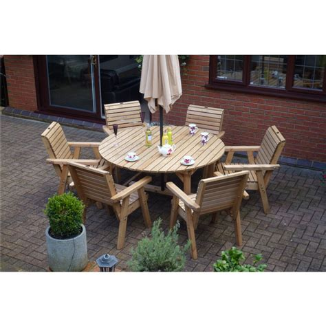 Patio Table Set by Wooden Garden Furniture Table 6 High Back Chairs