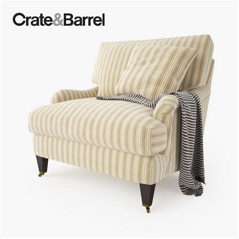 crate and barrel essex chair with casters 3d model max