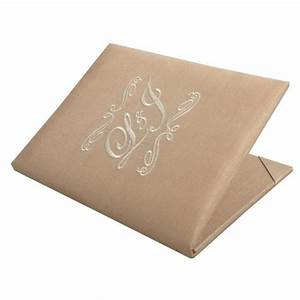 presonalized monogram initial embroidered silk wedding With plain pocket wedding invitations