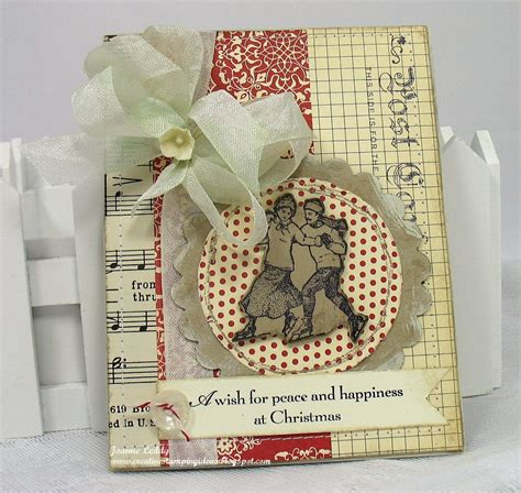 shabby chic christmas cards handmade shabby chic christmas card ice skaters by jlleddy on etsy
