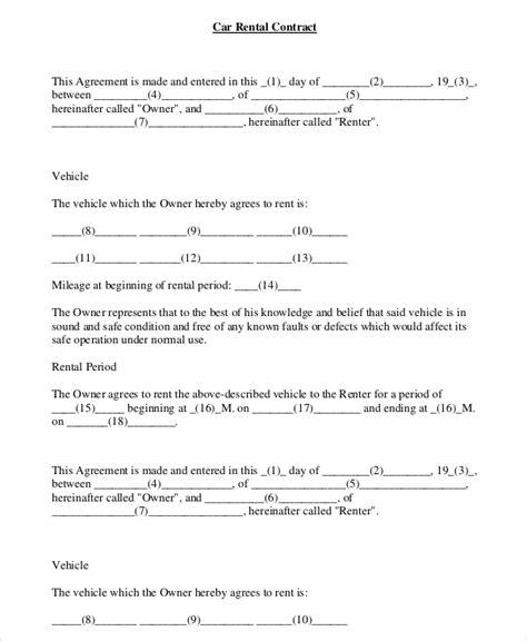 car rental agreement   word  documents