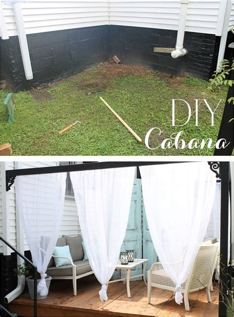 Diy Backyard Canopy by Diy Outdoor Cabana With Curtains Curb Appeal Outdoor