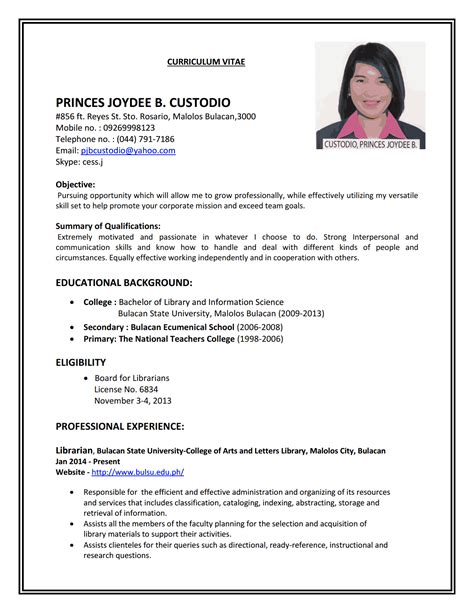 Simple Resume For by Cv Resume Templates Exles Resume Sle For Resume Sle Construction Project