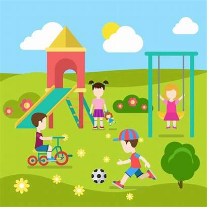 Outside Playing Playground Play Children Clipart Illustration