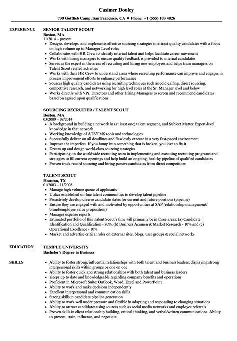Talent Resume by Talent Scout Resume Sles Velvet