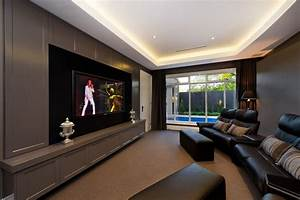 Home theater room home theater contemporary with cove ...