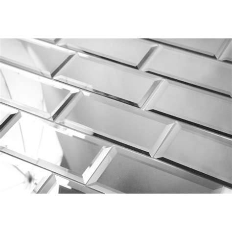peel and stick subway tile abolos echo 3 quot x 6 quot mirror glass subway tile in silver