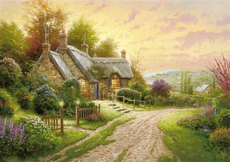 kinkade cottage painting kinkade summer cottage house flower road