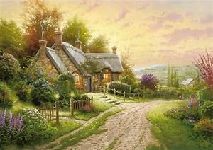 thomas kinkade summer cottage house flower road night ...