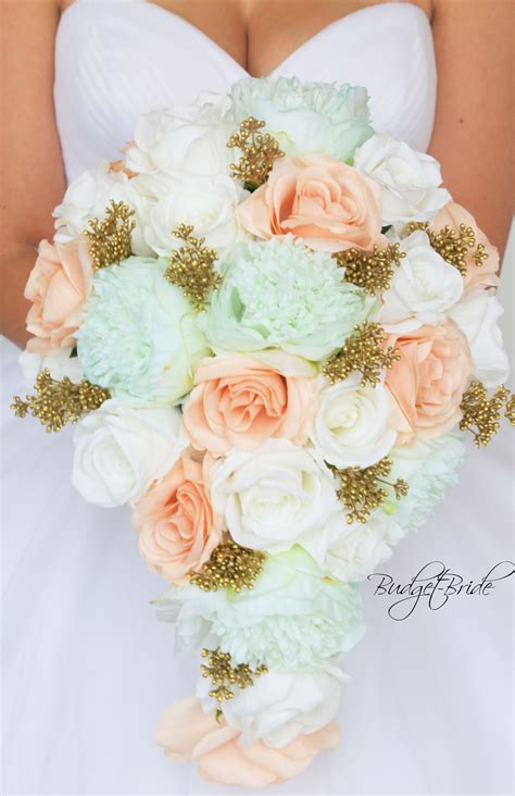 Davids Bridal Mint Green And Gold Bouquet Green Wedding
