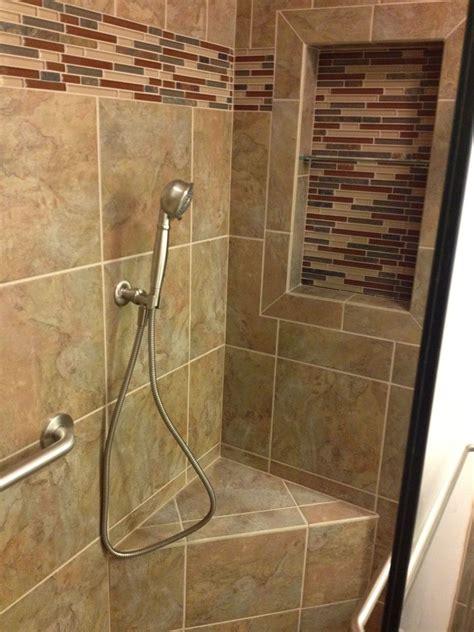 recessed shelf corner bench hand shower custom design