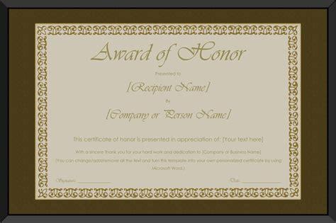 printable award  honor certificate template  word