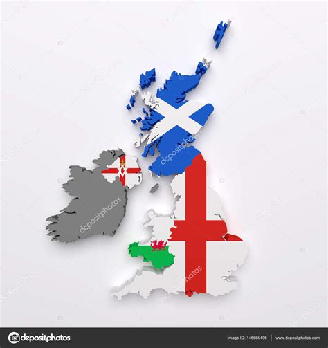 uk countries map  flags stock photo  erllre