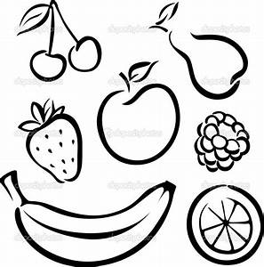 Best Photos of Fruit And Vegetable Outlines - Black Fruits ...
