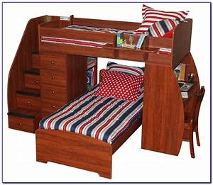 Twin, Bunk, Beds, With, Desk, And, Stairs