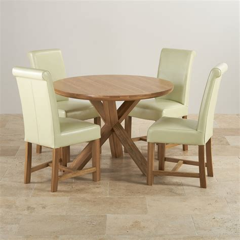 round dining table for 4 natural oak round dining set table 4 cream leather chairs