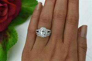 3 ctw split shank wedding set oval engagement ring halo for Split shank engagement ring with wedding band