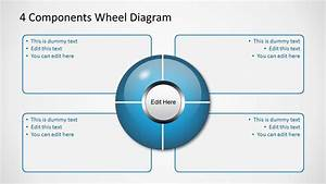 Blue 4 Components Wheel Diagrams For Powerpoint